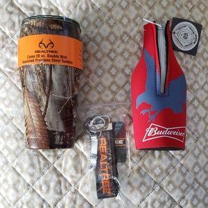 NWT bottle coozie. metal tumbler. key chain